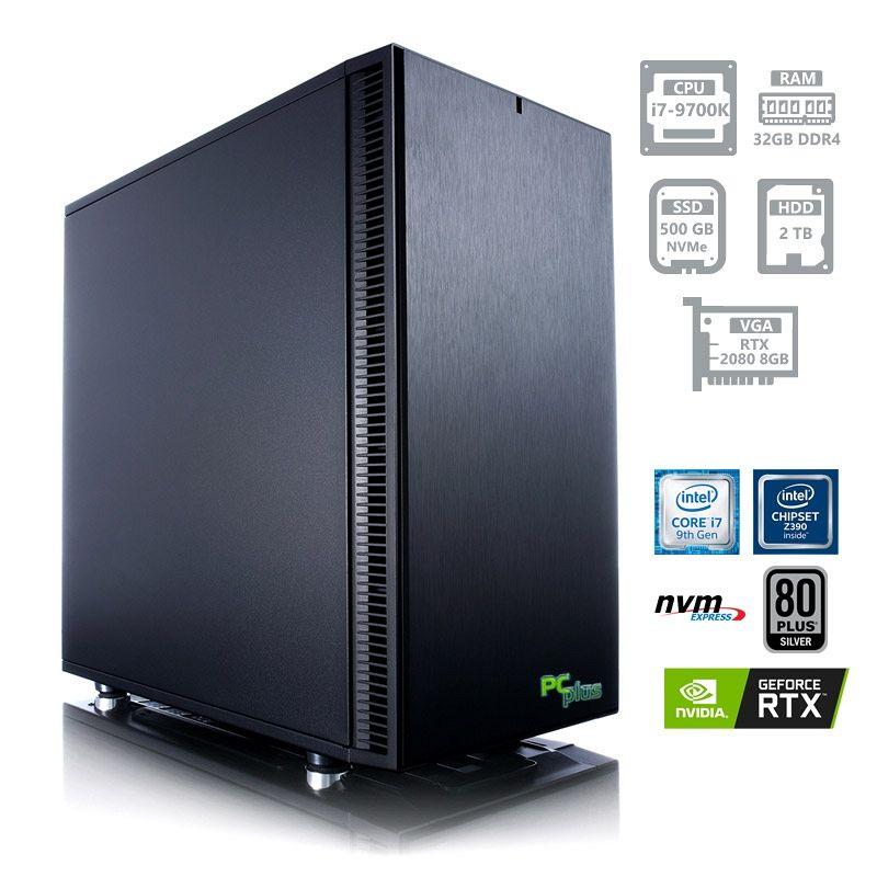 PCPLUS Dream machine i7-9700K 32GB 500GB NVMe SSD + 2TB HDD GeForce RTX 2080-Super 8GB gaming namizni računalnik