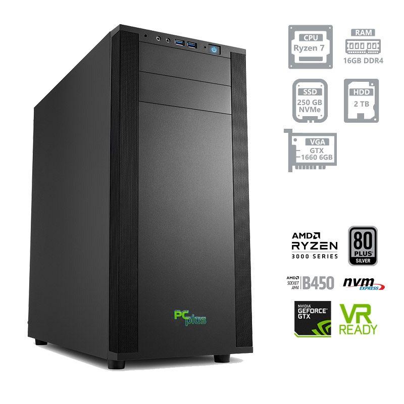 PCPLUS Dream machine Ryzen 7 3700X 16GB 250GB NVMe SSD + 2TB HDD GTX 1660 6GB gaming namizni računalnik + darilo: brezplačna igra