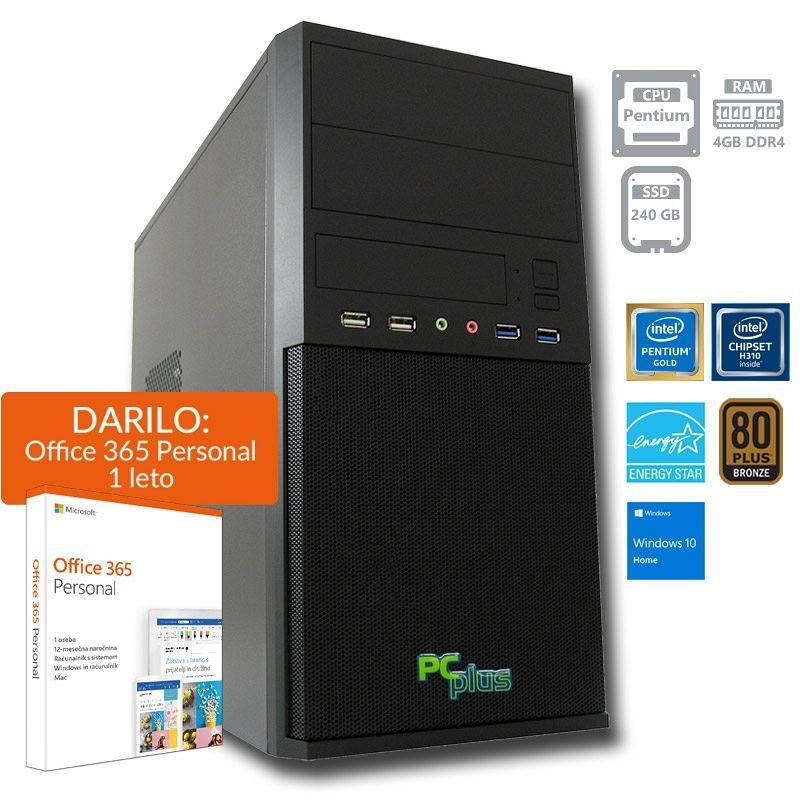 PCPLUS Family Pentium G5400 4GB 240GB SSD Windows 10 Homex + darilo: 1 leto Office 365 Personal namizni računalnik