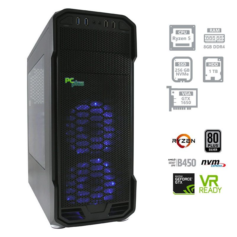 PCPLUS Gamer AMD Ryzen 5 2400G 8GB 256GB NVMe SSD + 1TB HDD GTX1650 4GB namizni računalnik