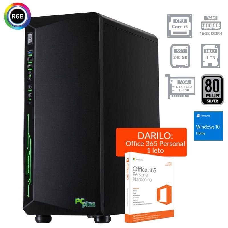 PCPLUS Gamer i5-9400F 16GB 240GB SSD + 1TB GTX1660Ti 6GB Windows 10 Home + darilo: 1 leto Office 365 Personal gaming namizni računalnik