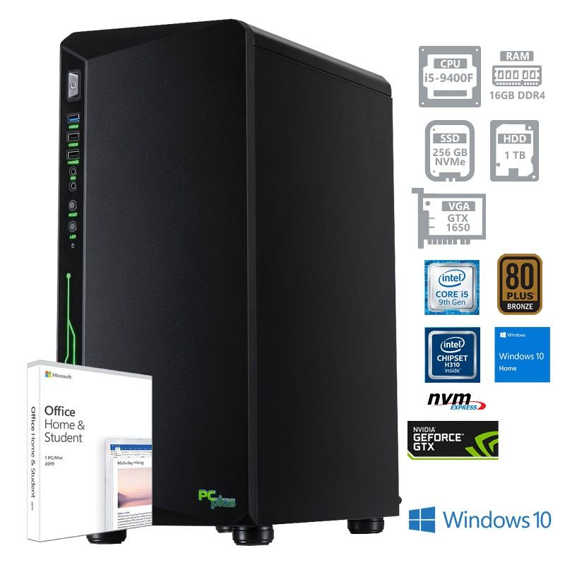 PCPLUS Gamer i5-9400F 16GB 256GB NVMe SSD + 1TB GTX1650 4GB Windows 10 Home Office H&S 2019 gaming namizni računalnik