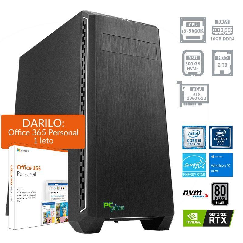 PCPLUS Gamer i5-9600K 16GB 500GB NVMe SSD + 2TB HDD RTX 2060 6GB Windows 10 Home + darilo: 1 leto Office 365 Personal namizni računalnik
