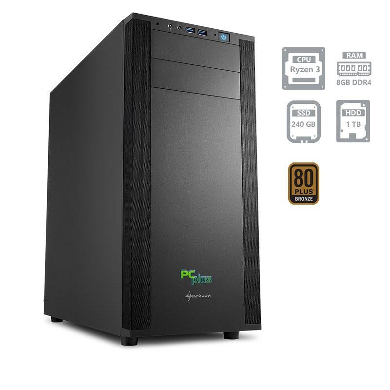 PCPLUS Magic AMD Ryzen 3 2200G 8GB 240GB SSD + 1TB namizni računalnik