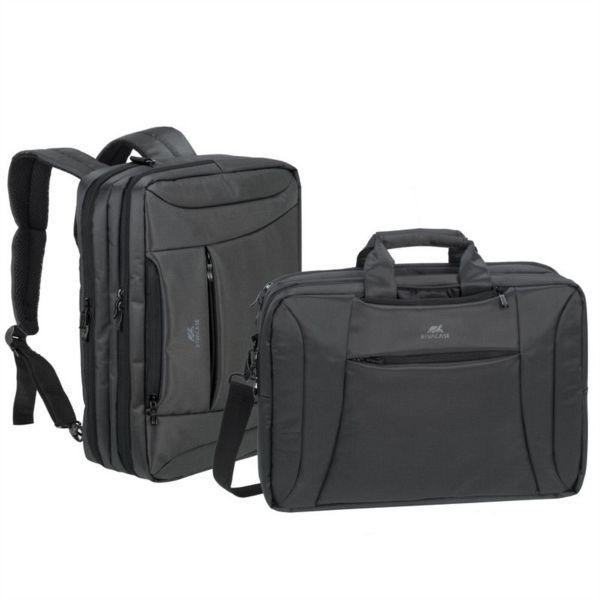 RivaCase ogljeno črna spremenljiva torba/nahrbtnik za prenosni računalnik 16