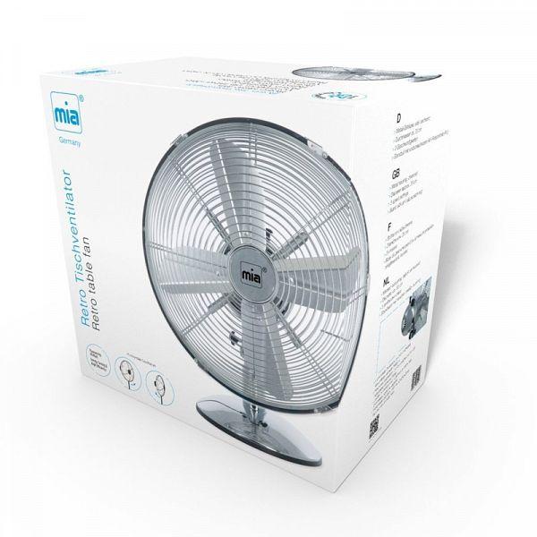 MIA VLO 6010 33 cm krom srebrn retro namizni ventilator