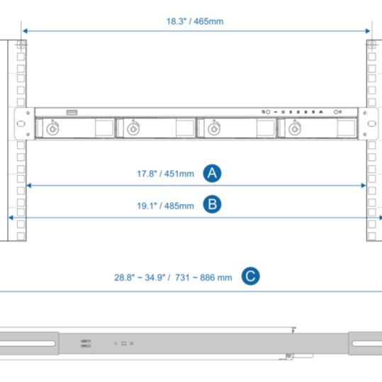 QNAP rail kit (sanke) za 1U NAS-e