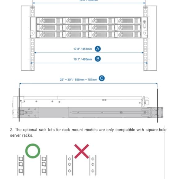 QNAP rail kit (sanke) za 2U NAS-e