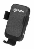 Avtopolnilec brezžični 10W MANHATTAN, črno-siv, 1xUSB-C (1m) in 1x brezžična polnilna plošča Qi