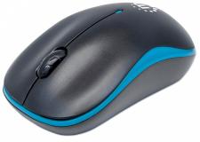 Brezžična optična miška MANHATTAN, modro/črna, USB, 1000 dpi, 3 tipke s kolescem
