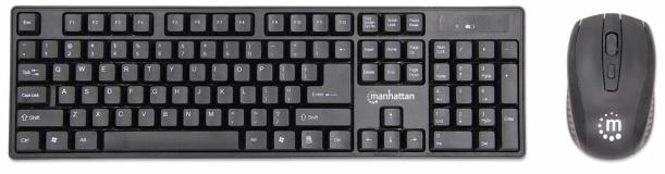 Brezžična tipkovnica in optična miška MANHATTAN, USB, 1600 dpi, črna