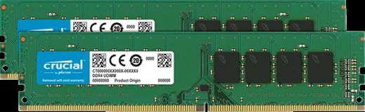 Crucial 16GB Kit (2 x 8GB) DDR4-2666 UDIMM PC4-21300 CL19, 1.2V