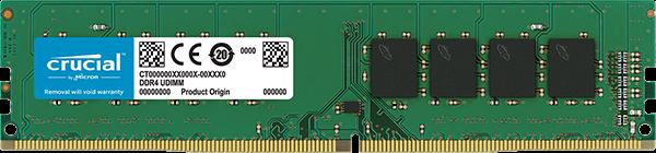 Crucial 32GB DDR4-2666 UDIMM PC4-21300 CL19, 1.2V