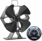 VonHaus ventilator za kamin XL črn aluminij